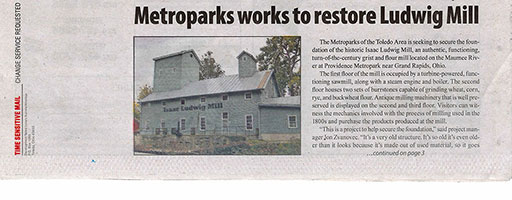 Article about Ludwig Mill Restoration: page 1
