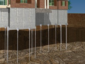 Push piers sinking foundation repair for Steel piers for house